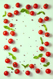 Top down of beautiful frame cherry tomato, dry peppers and green Stock Photography