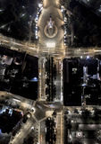 Top down city grid at night. Monument of freedom in Latvia Royalty Free Stock Photos