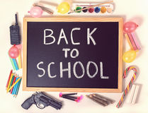 Top down concept of education with text back to school is writte Royalty Free Stock Image