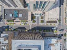 Top down Hommel nog van daken in de Stad van Raleigh, NC Stock Fotografie