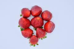 top down mening van een groep verscheidene smakelijke verse rode aardbeien enkel geoogst en klaar om worden gegeten De aardbeien  royalty-vrije stock foto's