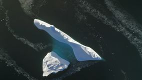 Top down menings Antarctische ijsberg Luchtvlucht stock videobeelden