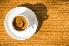 Top down morning creativity concept, smiled cup coffee with sunb Royalty Free Stock Image