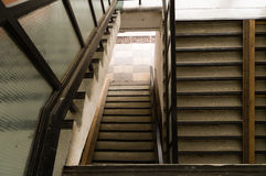 Top down perspective of unkept staircase in apartment building Royalty Free Stock Images