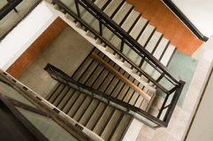 Top down perspective of unkept staircase in apartment building Stock Photo