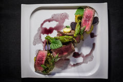 Top Down Shot of Creative Plate of Asian Beef Stock Images