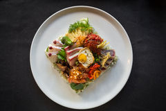 Top Down Shot of Creative Plate of Chirashi and Whole Plate Stock Photography