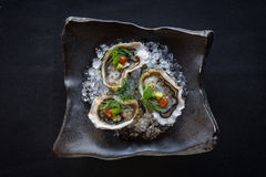 Top Down Shot of Three Oysters Stock Photo