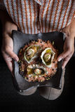Top Down Shot of Three Oysters on Plate Stock Photos