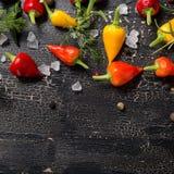 Top down van gele, oranje en roodgloeiende Spaanse peperpeper, overzees zout, Royalty-vrije Stock Afbeeldingen