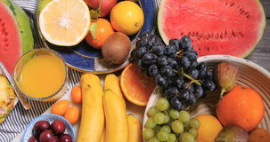 Top down view of an assortment of healthy, organic fruits Stock Image