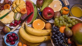 Top down view of an assortment of healthy, organic fruits royalty free stock photo
