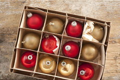 Top down view on christmas tree ornaments Stock Image