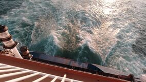 Top Down View of Ship Stern. Peraues Port, Greece.