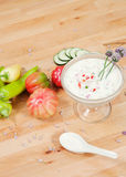 Top down view of cream based white gazpacho soup Royalty Free Stock Photos