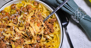 Top down view of delicious fettuccine in bolognese sauce. Top down view of delicious steamy fettuccine in bolognese sauce stock images