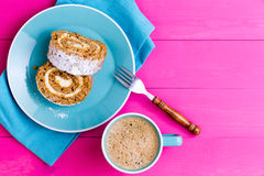 Top down view of dessert and coffee Royalty Free Stock Image