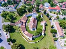 Top down view of Harman Catholic Church in the Saxon village Har Royalty Free Stock Photo