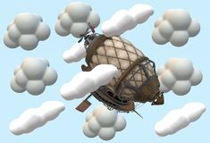 A top down view of an imaginary flying ship flying in the clouds. A computer generated illustration image of a top down view of an imaginary flying ship flying vector illustration
