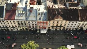 Top down view of Lvov city people walk rest the holiday day weekend stock footage