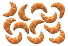 Top down view of many croissants bread stock illustration