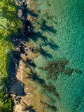 Top down view of the the Maui coastline with long palm tree shadows stock image