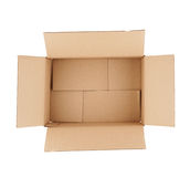 Top down view of open empty cardboard box Stock Image
