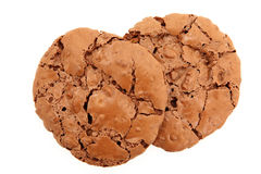 Top Down View Of A Pair Of Chocolate Chewy Cookies. Isolated On White Background stock photos