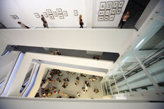 Top-down view on photo exhibition Royalty Free Stock Photo