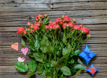 Top down view on pink roses, hearts and gifts Royalty Free Stock Photo
