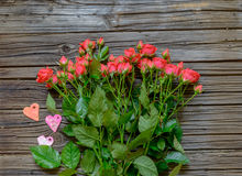 Top down view on pink roses, hearts and gifts Royalty Free Stock Images