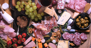 Top down view of a platter of cured meat charcuterie Royalty Free Stock Photos
