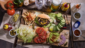 Top down view of a smiling burger royalty free stock image