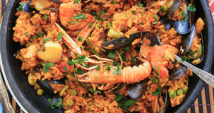Top down view of a Spanish seafood paella Royalty Free Stock Image