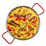 Top down view of spare ribs and yellow rice Royalty Free Stock Photos