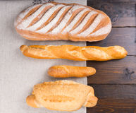 Top down view of various baguettes Stock Photography