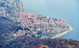 Top down view from viewpoint on the village of cannero riviera at lake maggiore royalty free stock photos