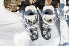 Top down view of white and gray ski boots Stock Image
