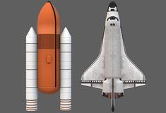 A top down view of a white space shuttle  and its massive fuel tank. A computer generated illustration image of the top down view of a white space shuttle  and stock illustration