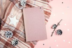 Top-down winter holidays composition with book, plaid, cones and stars on pink background. Copy space for text royalty free stock photo