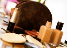 Top of the Dressing Table. A table top filled with women's cosmetics and supplies stock images
