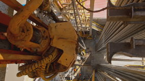 Top Drive System and Derrick of Oil Drilling Rig stock footage