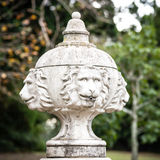 Top of Dry Fountain Featuring Lion Heads in Public Stock Photos