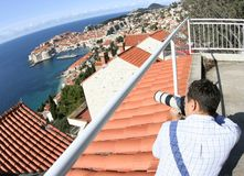 On the top of Dubrovnik... Photographer on the top of Dubrovnik (Croatia Stock Images
