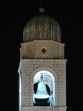 Top of the Dubrovnik bell tower by night Royalty Free Stock Photo