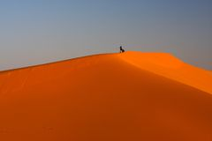 At the top of dune. People meet sunset at the top of dune Stock Photography