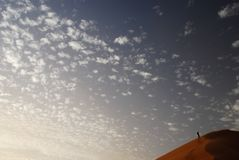 On the top of the dune. Merzouga. Erg Chebbi, Sahara, Morocco Stock Image
