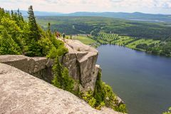 At the top in Eastern Townships, Canada. Cherry on the sundae with this view on Lyster Lake from Pinacle Mountain trail, province of Quebec, Canada stock photo