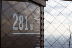 Top of Eiffel Tower. A view from the top of the Eiffel Tower with 281m marked on the structure Royalty Free Stock Image