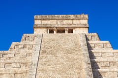 Top of El Castillo (The Kukulkan Temple) of Chichen Itza Stock Images